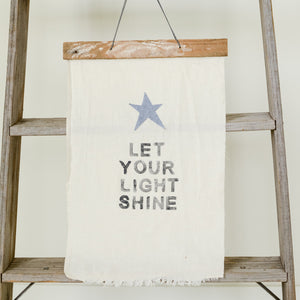 SHINE floursack and wood wall art