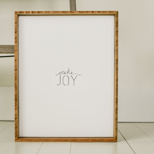 the MAKE {JOY} Canvas and wood sign