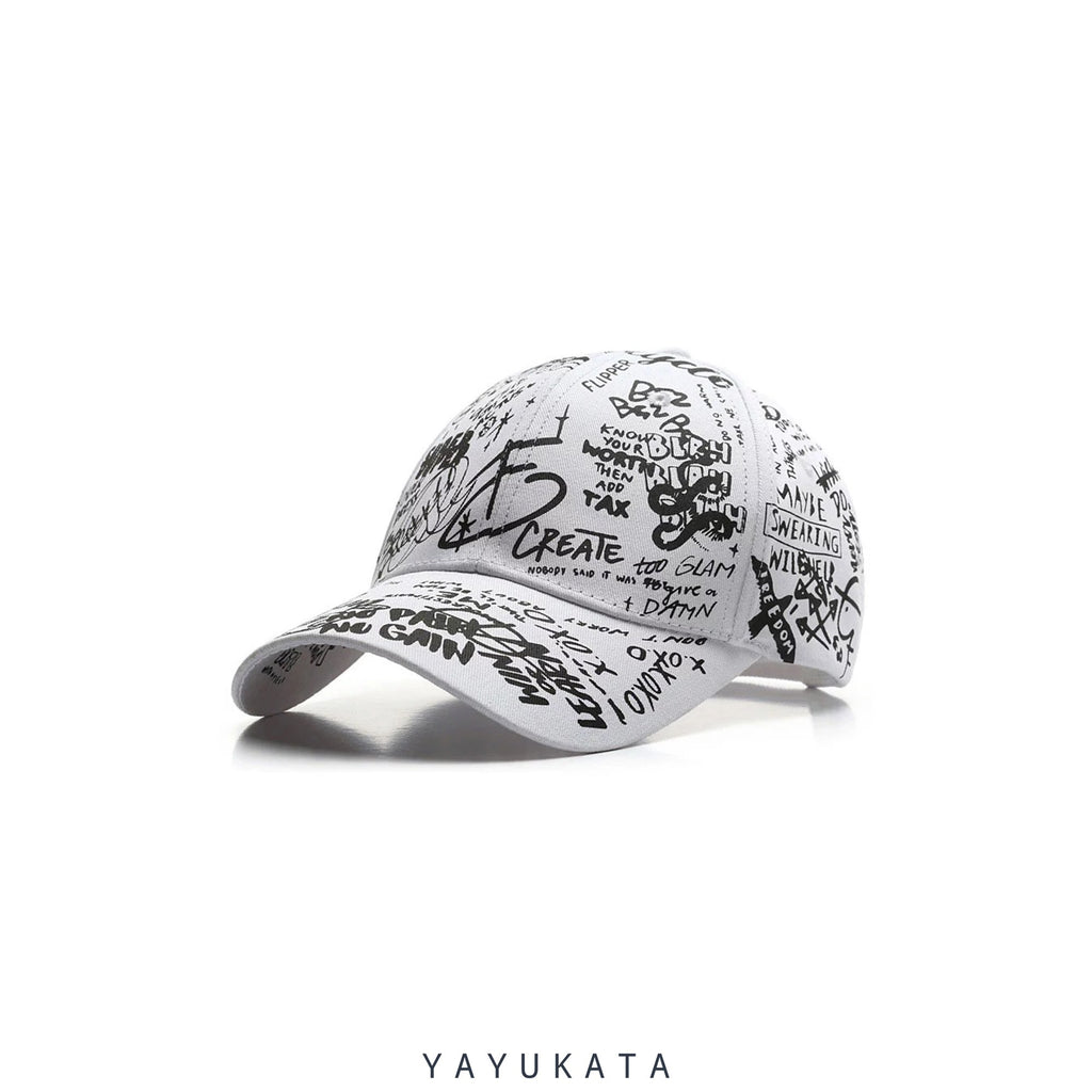 YAYUKATA Caps & Hats ZR0 Graffiti Print Cap