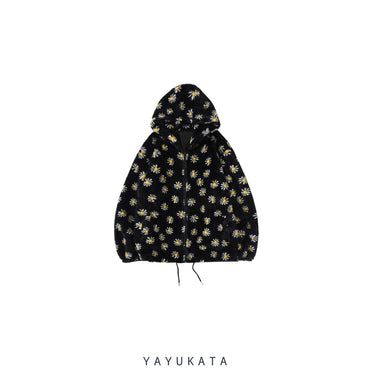 YAYUKATA Coats & Jackets BLACK / S MD4 Daisey Flowers Printed Fleece Jacket
