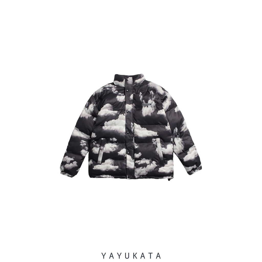 "YAYUKATA Coats & Jackets GRAY / L MA2 ""Cloud"" Print Harajuku Streetwear Winter Jacket"