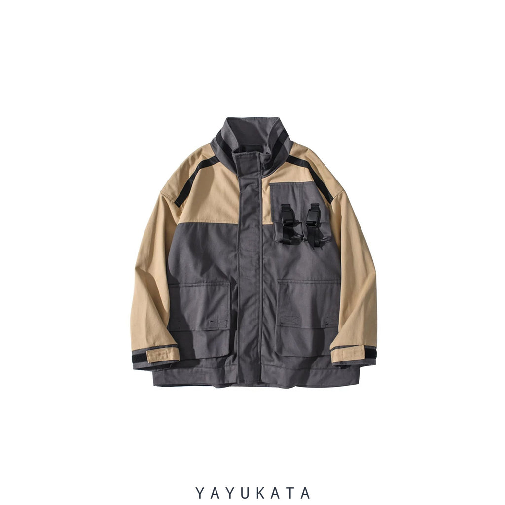 YAYUKATA Coats & Jackets KHAKI / XXL MA5 Multi-Pockets Color Block Harajuku Coat