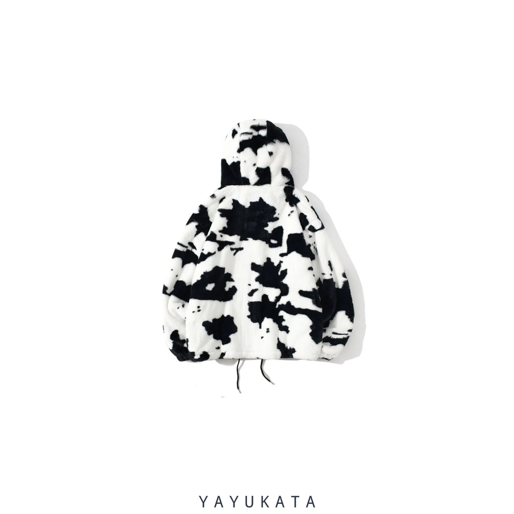 YAYUKATA Coats & Jackets MC8 Cow Spots Printed Fleece Jacket