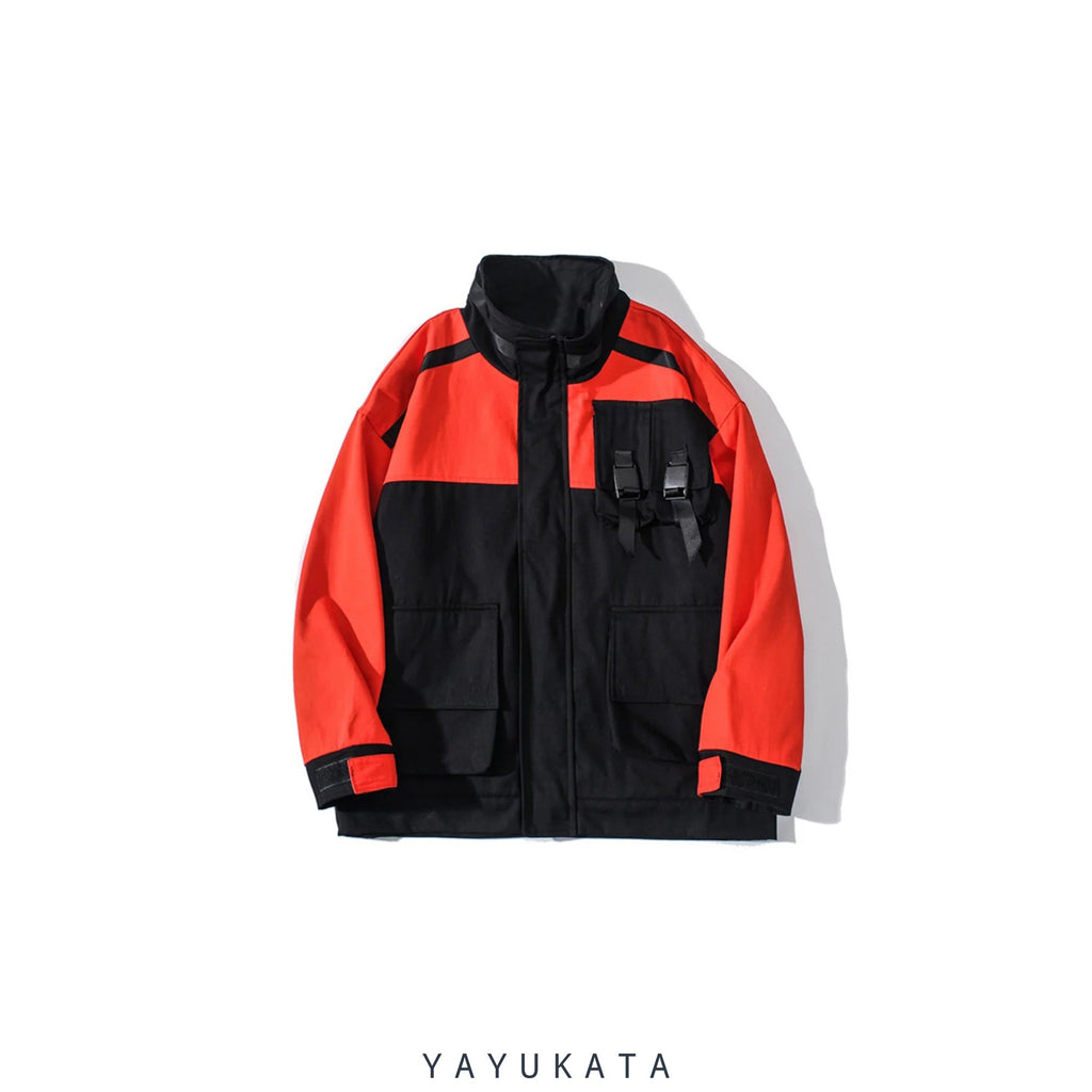 YAYUKATA Coats & Jackets ORANGE / XXL MA5 Multi-Pockets Color Block Harajuku Coat