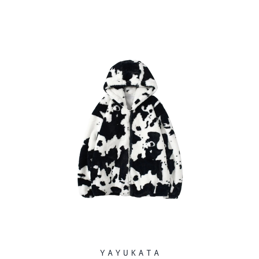 YAYUKATA Coats & Jackets XXL MC8 Cow Spots Printed Fleece Jacket