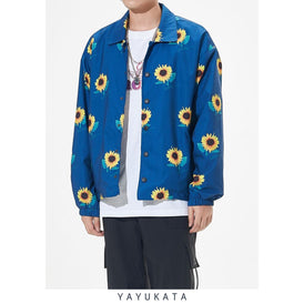 "YAYUKATA Coats & Jackets ZG3  Casual ""Sunflower"" Print Windbreaker"