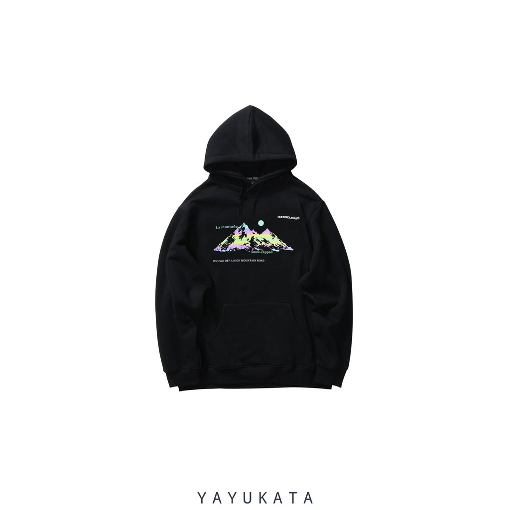 YAYUKATA Hoodies BLACK / M WM7 Mountain Print Hoodie