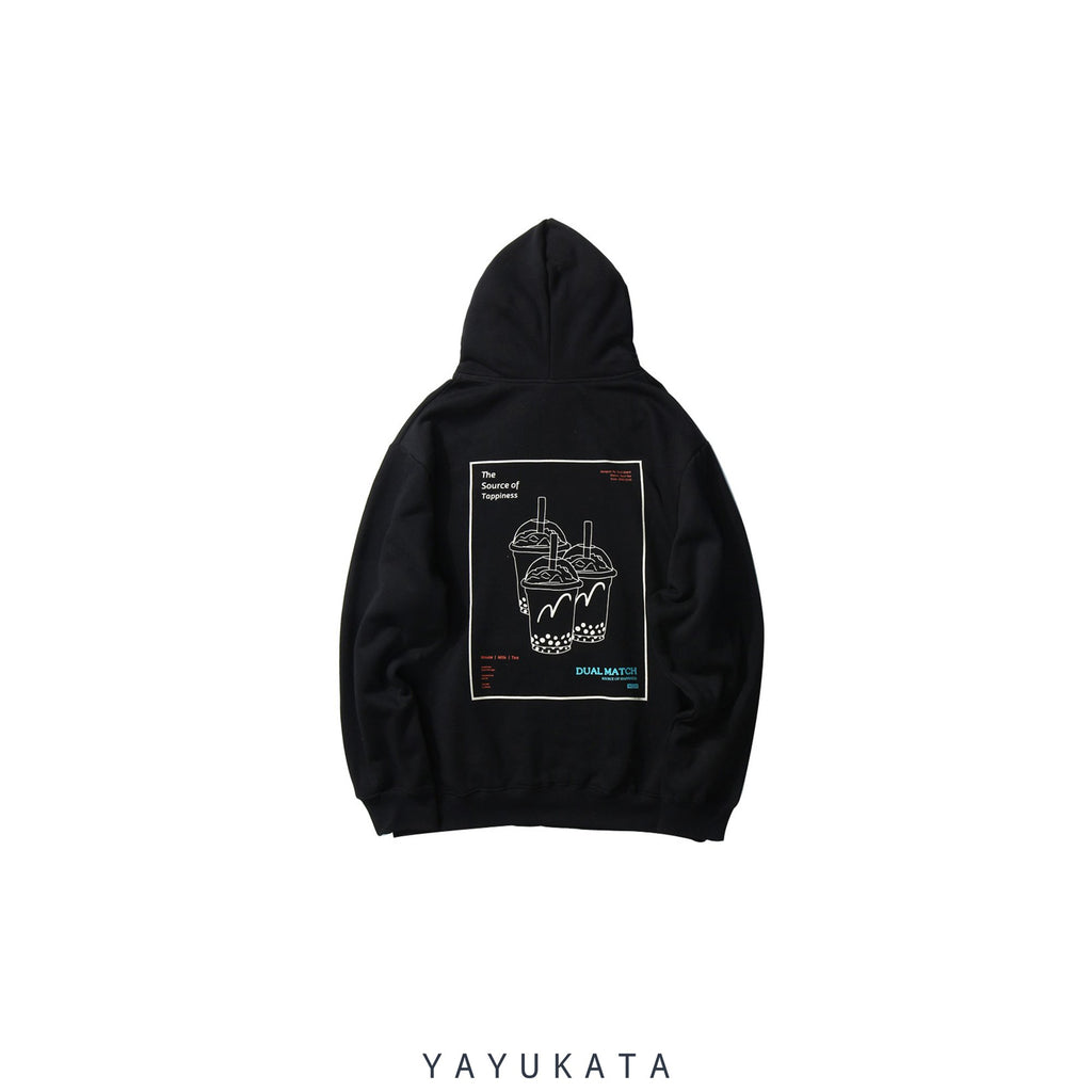 "YAYUKATA Hoodies BLACK / S WN3 ""Bubble Tea"" Printed Streetwear Hoodie"