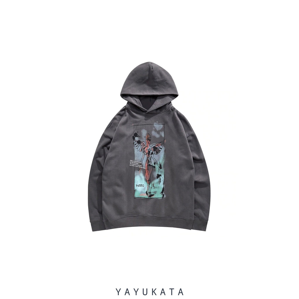 YAYUKATA Hoodies BLACK / S ZI3 Graffiti Angel Printed Streetwear Hoodie