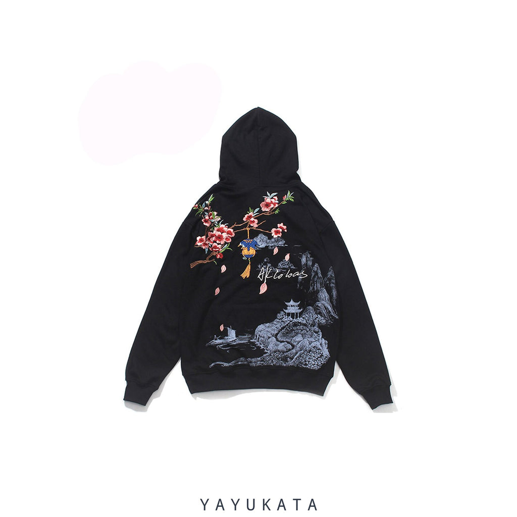 YAYUKATA Hoodies BLACK / XL ZA0 Chinese Style Embroidered Harajuku Hoodie