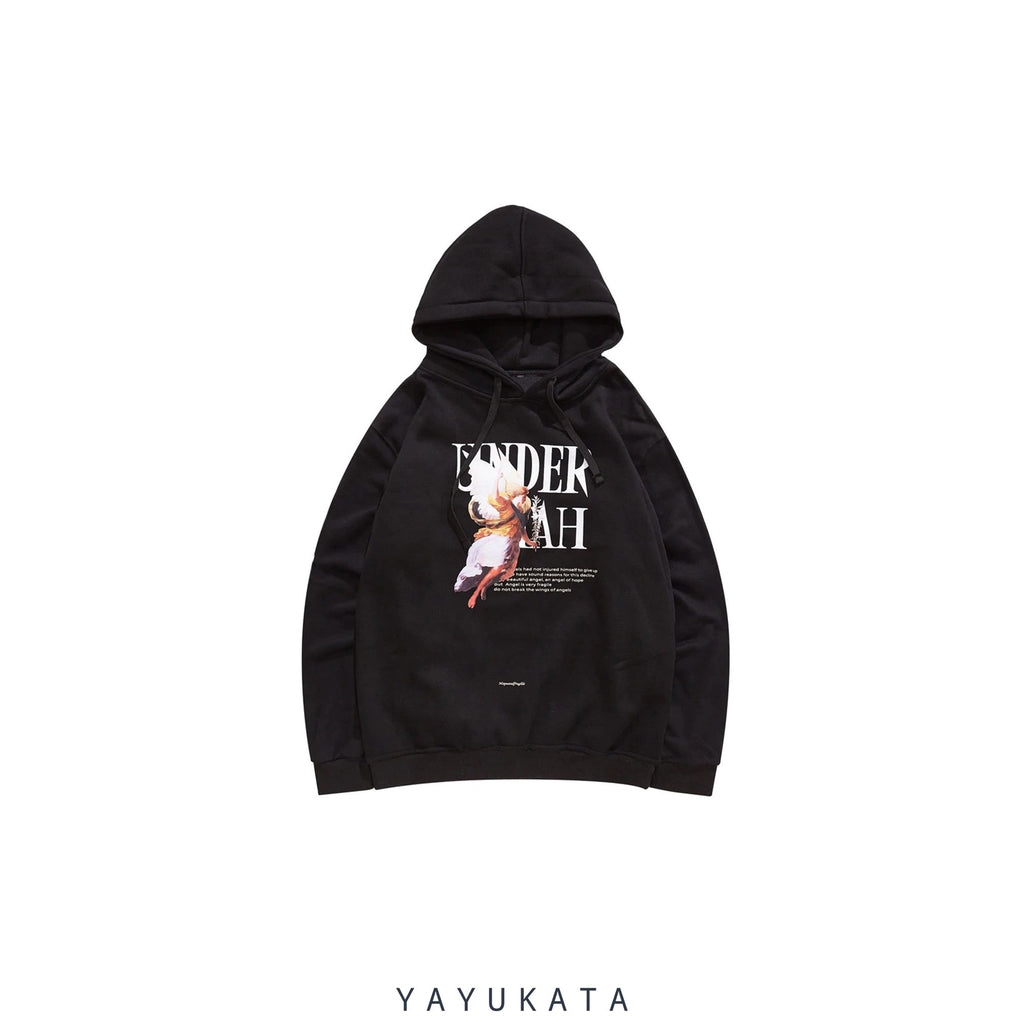 YAYUKATA Hoodies BLACK / XL ZJ0 Bad Angel Printed Hoodie