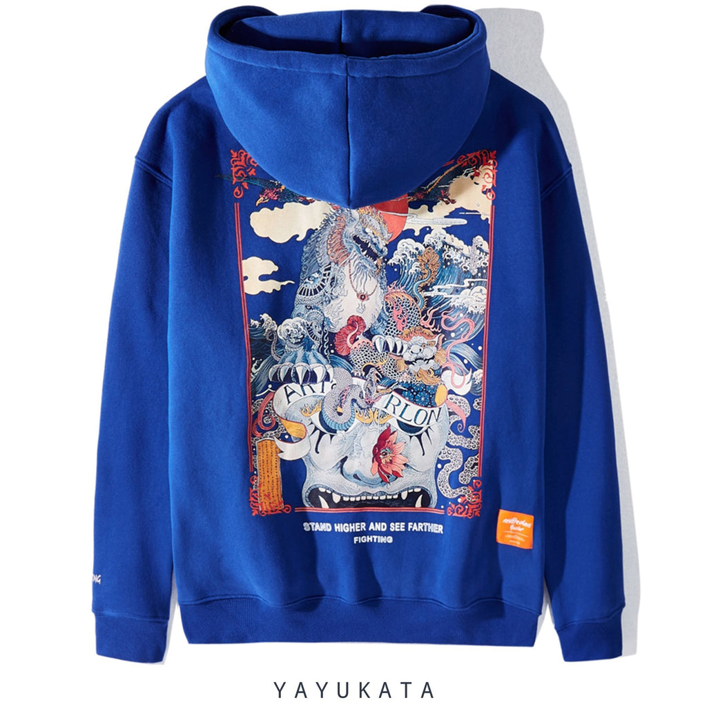 YAYUKATA Hoodies BLUE / XL FG3 Casual Printed Cotton Hoodie