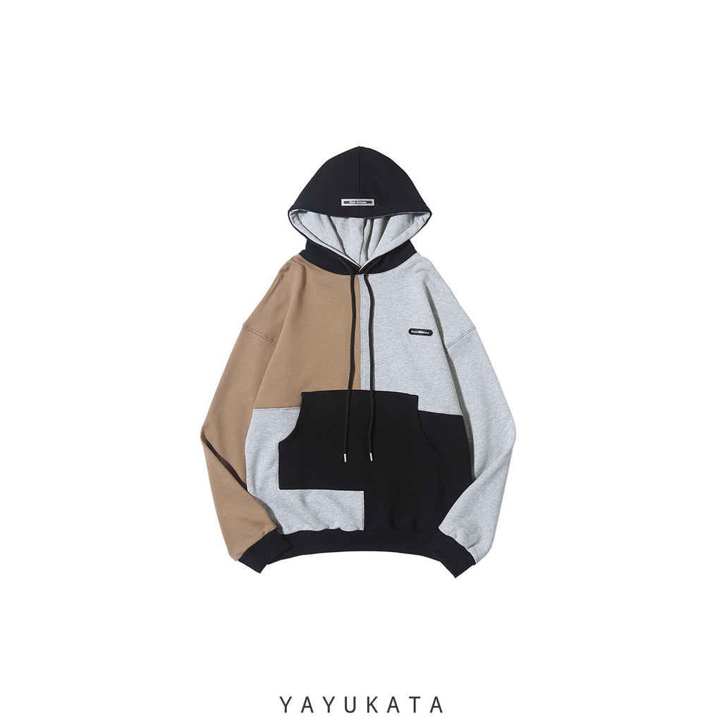 YAYUKATA Hoodies GRAY / XXL YL2 Casual Color Block Hoodie