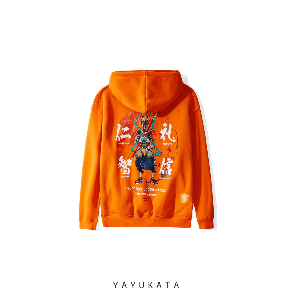 "YAYUKATA Hoodies Orange / S YI2 ""Spirit"" Printed Harajuku Hoodie"