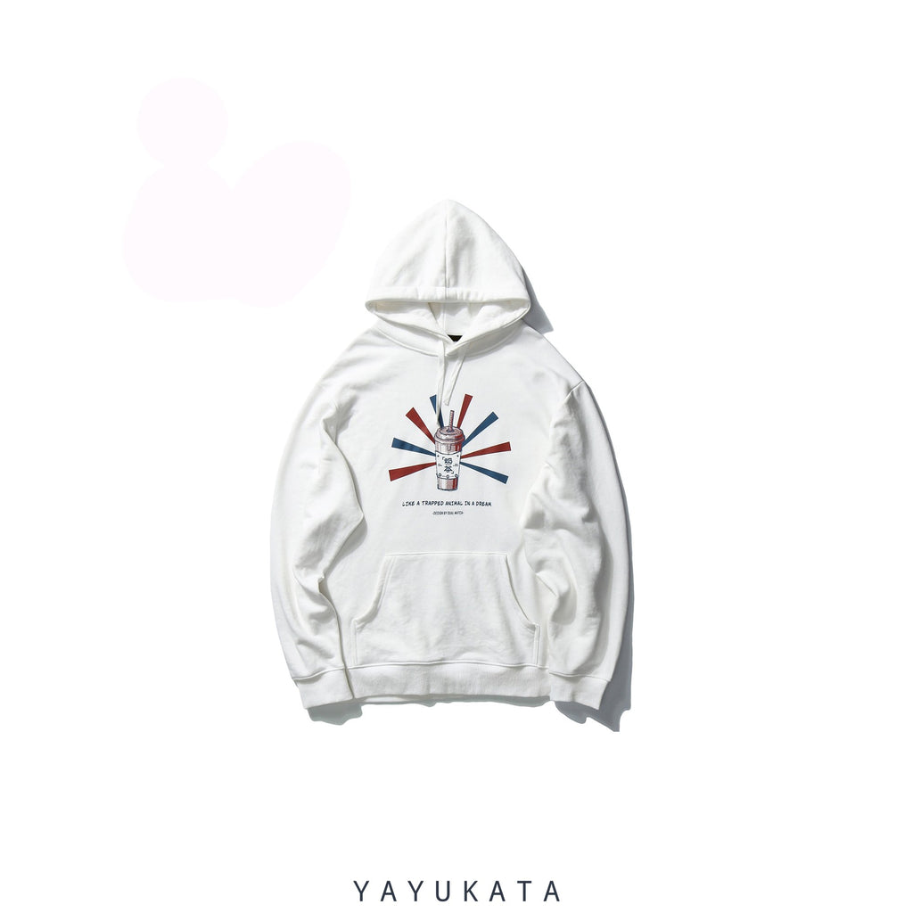 "YAYUKATA Hoodies WHITE / L VE6 ""Bubble Tea"" Print Hoodie"