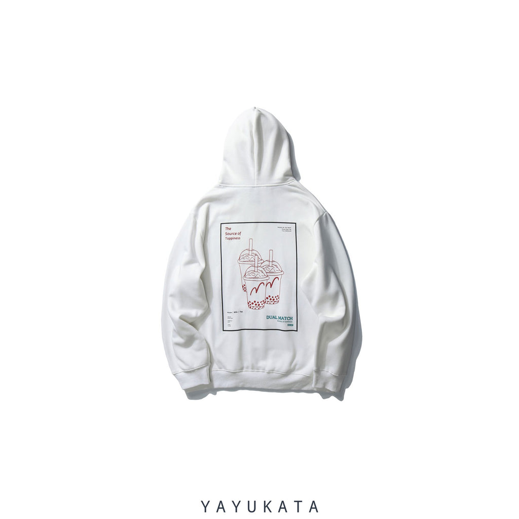 "YAYUKATA Hoodies WHITE / L WN3 ""Bubble Tea"" Printed Streetwear Hoodie"