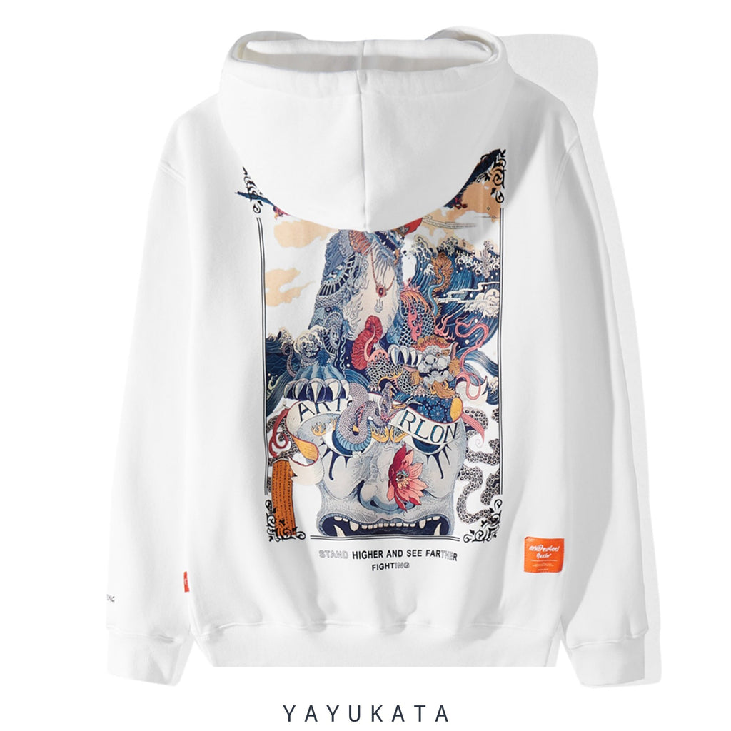 YAYUKATA Hoodies WHITE / M FG3 Casual Printed Cotton Hoodie