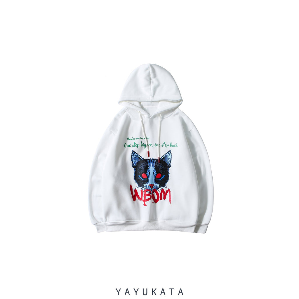 "YAYUKATA Hoodies WHITE / XL AF8 ""Demon Cat"" Thick Hooded Sweater"