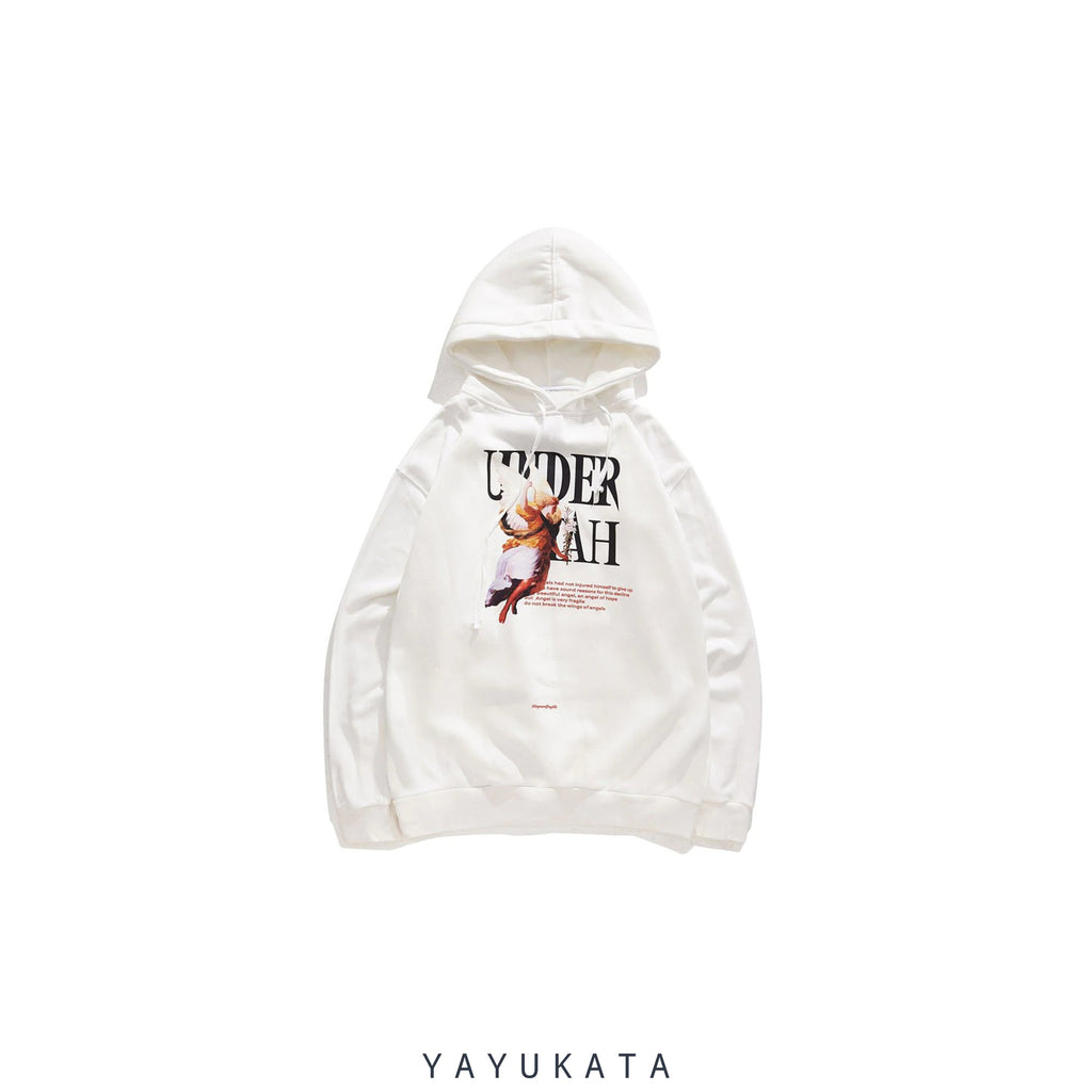 YAYUKATA Hoodies WHITE / XL ZJ0 Bad Angel Printed Hoodie