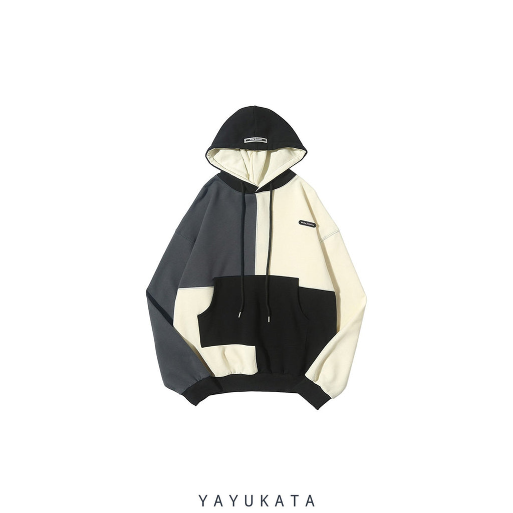YAYUKATA Hoodies WHITE / XXL YL2 Casual Color Block Hoodie