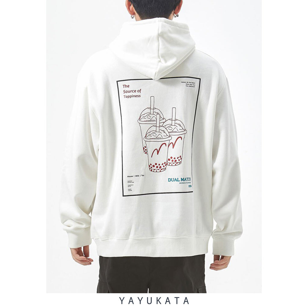 "YAYUKATA Hoodies WN3 ""Bubble Tea"" Printed Streetwear Hoodie"