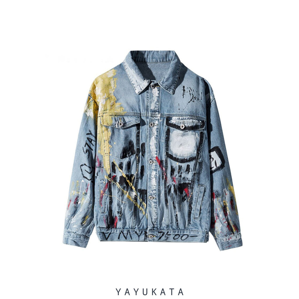 YAYUKATA Jacket M VZ2 Harajuku Grafitti Print Denim Jacket