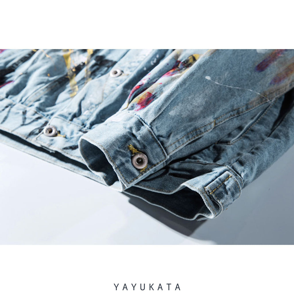 YAYUKATA Jacket VZ2 Harajuku Grafitti Print Denim Jacket