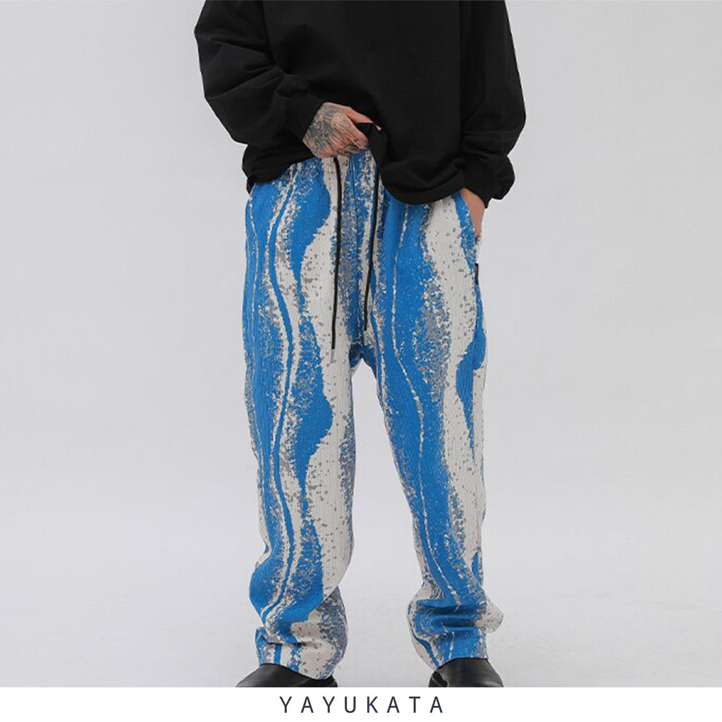 YAYUKATA Pants & Shorts BLUE / L VC7 Casual Color Block Pants