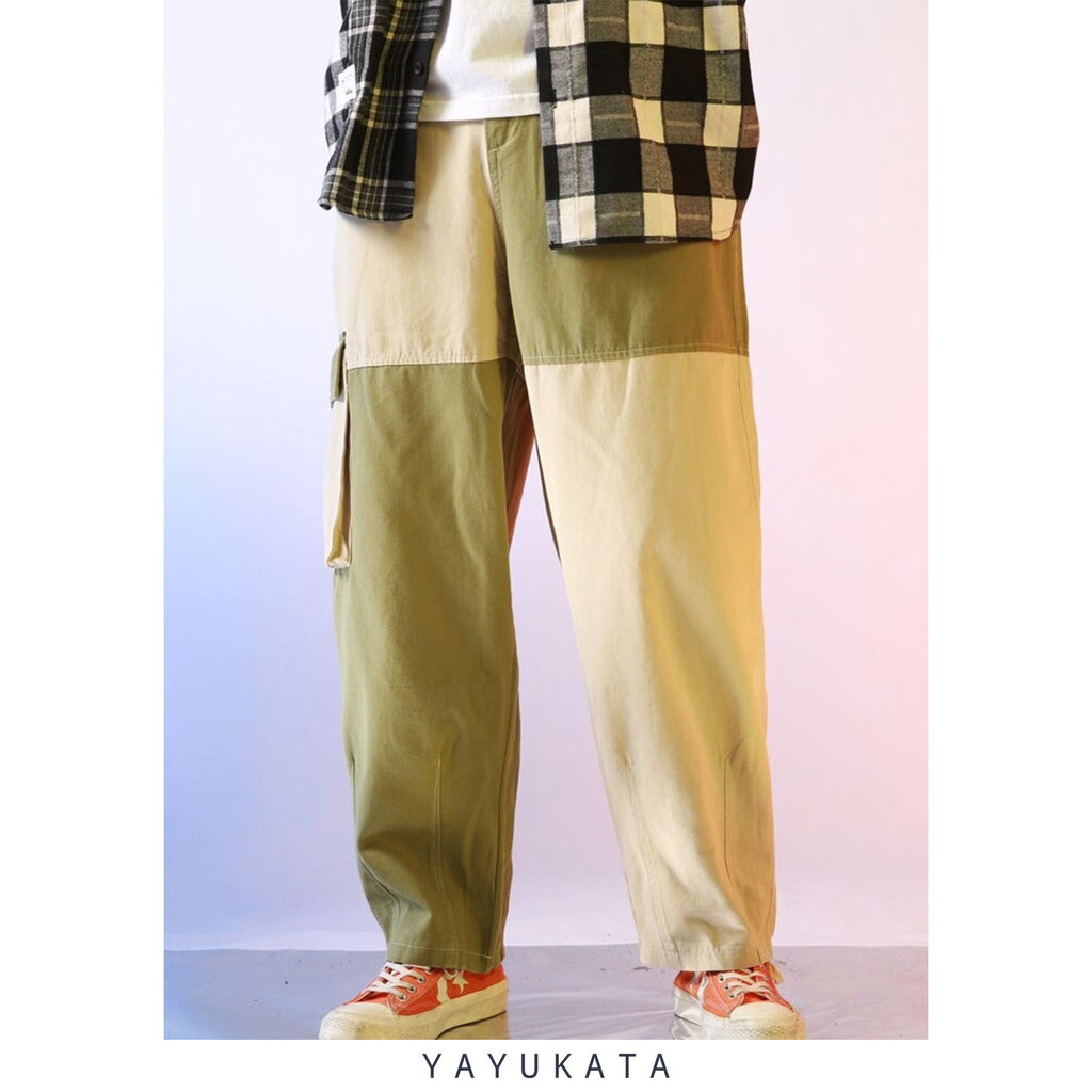 YAYUKATA Pants & Shorts GREEN / M ZD6 Casual Color Block Harajuku Streetwear Pants
