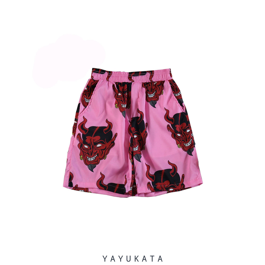 "YAYUKATA Pants & Shorts PINK / L VE9 ""Devil Print"" Harajuku Shorts"