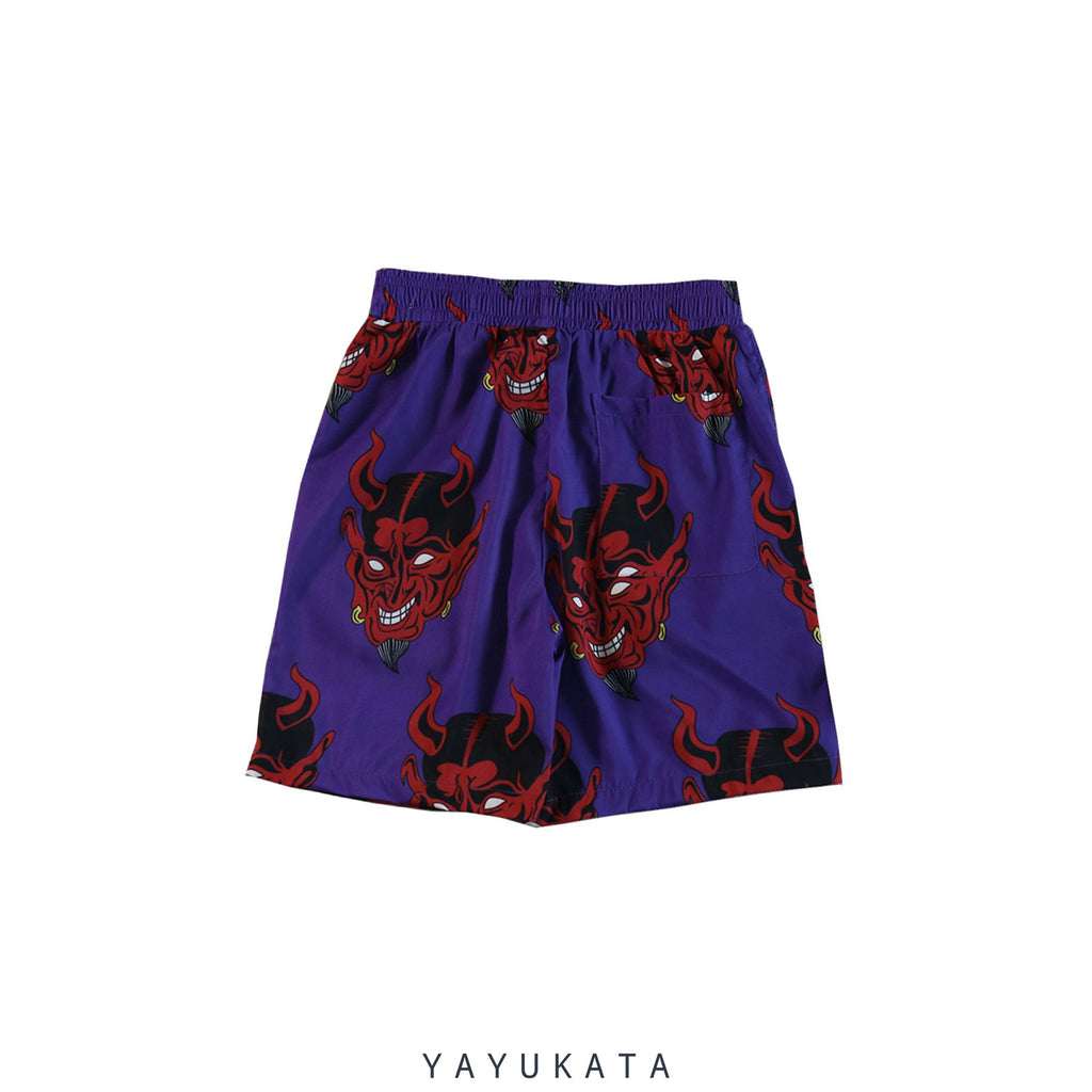 "YAYUKATA Pants & Shorts PURPLE / M VE9 ""Devil Print"" Harajuku Shorts"