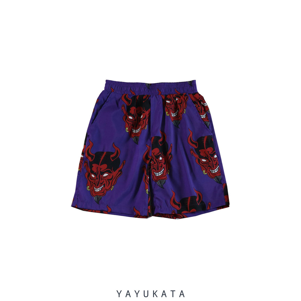 "YAYUKATA Pants & Shorts VE9 ""Devil Print"" Harajuku Shorts"