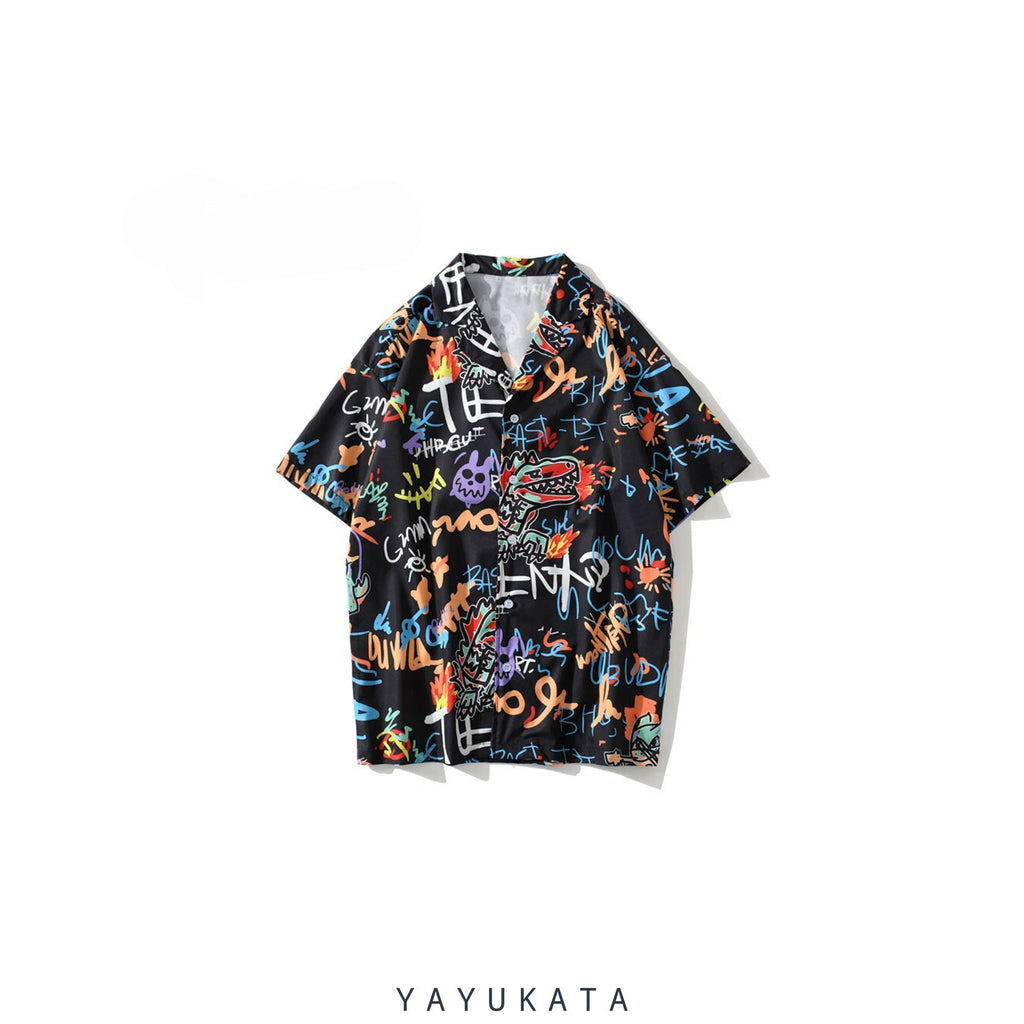 YAYUKATA Shirts BLACK / XXL YN5 Graffiti Print Shirt