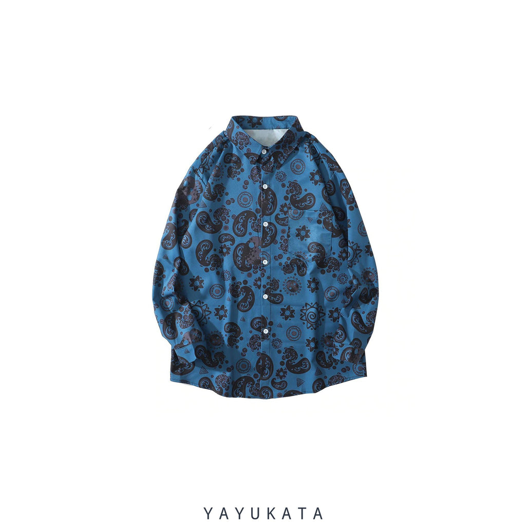 YAYUKATA Shirts BLUE / XXL ZH2 Bandana Pattern Printed Hawaii Shirt
