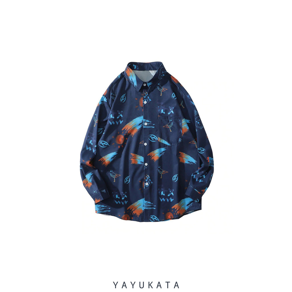 YAYUKATA Shirts DARK BLUE / L ZH5 Graffiti Pattern Printed Hawaii Shirt