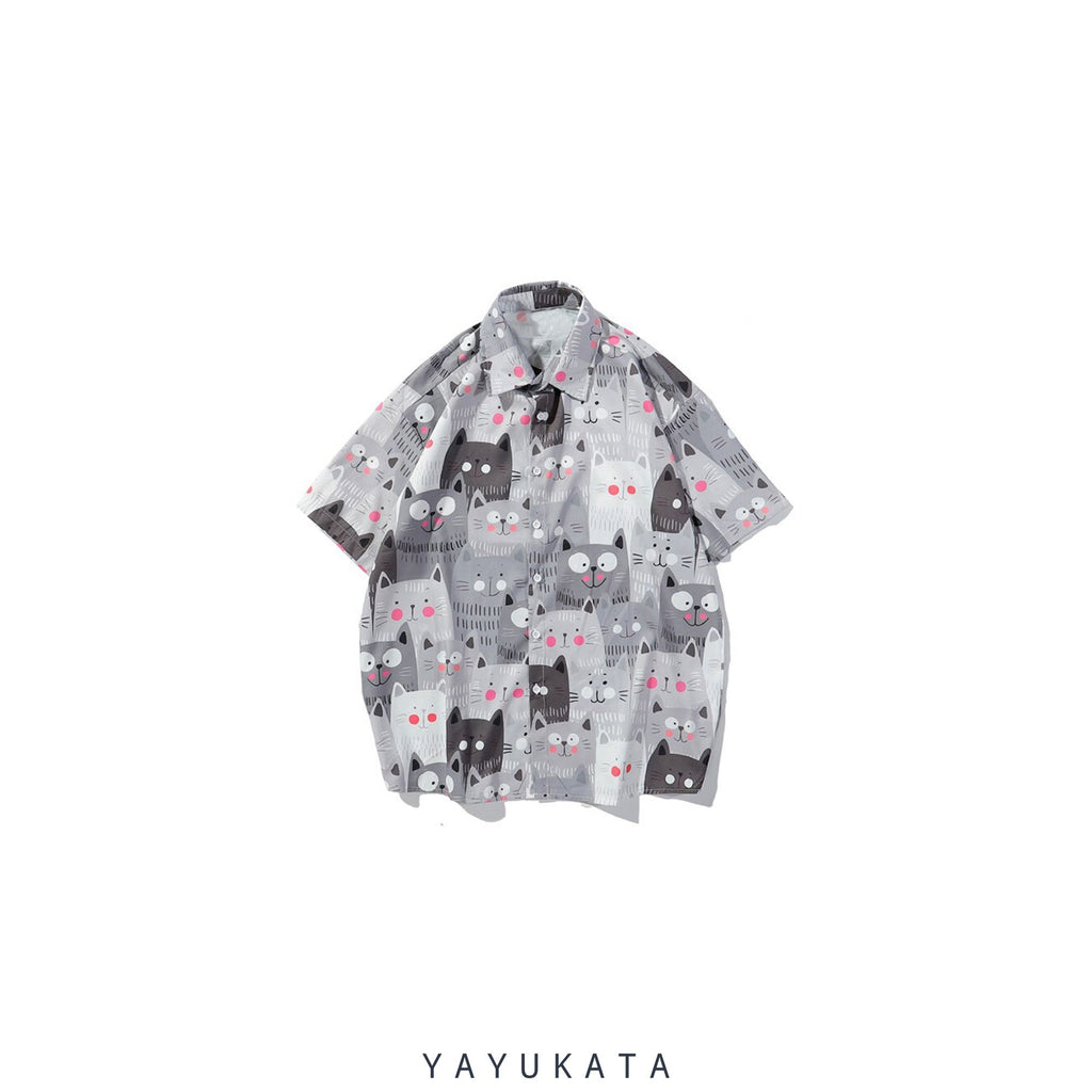 YAYUKATA Shirts GRAY / M YU0 Printed Beach Shirt