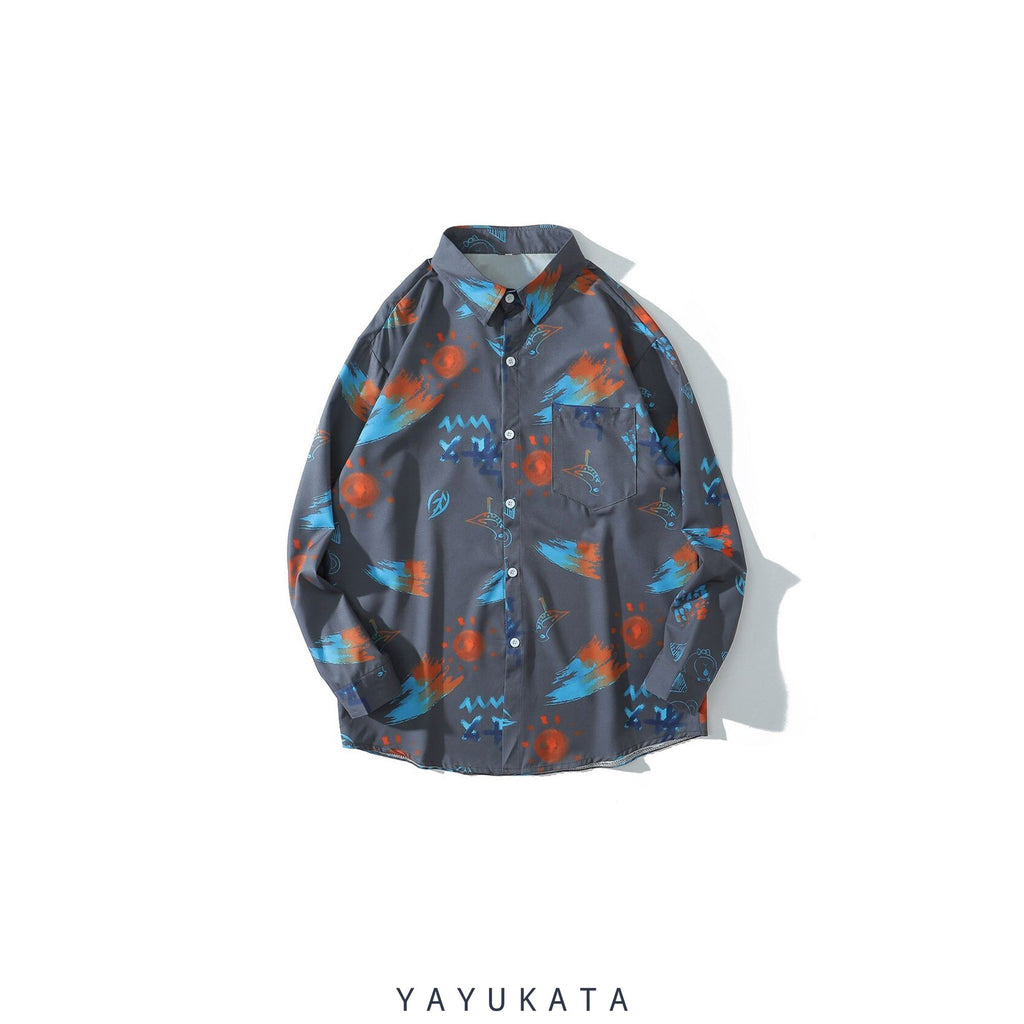 YAYUKATA Shirts GRAY / M ZH5 Graffiti Pattern Printed Hawaii Shirt