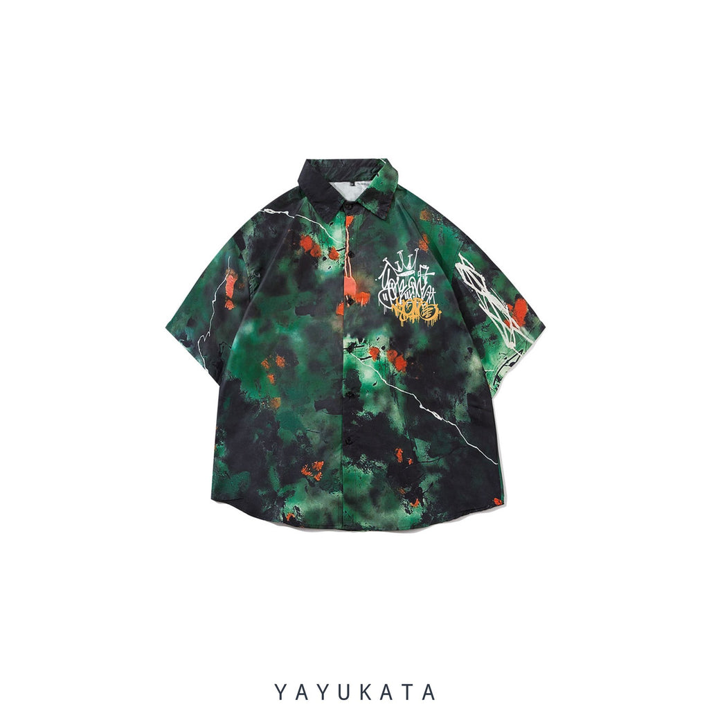 YAYUKATA Shirts Green / M YP4 Abstract Harajuku Shirt