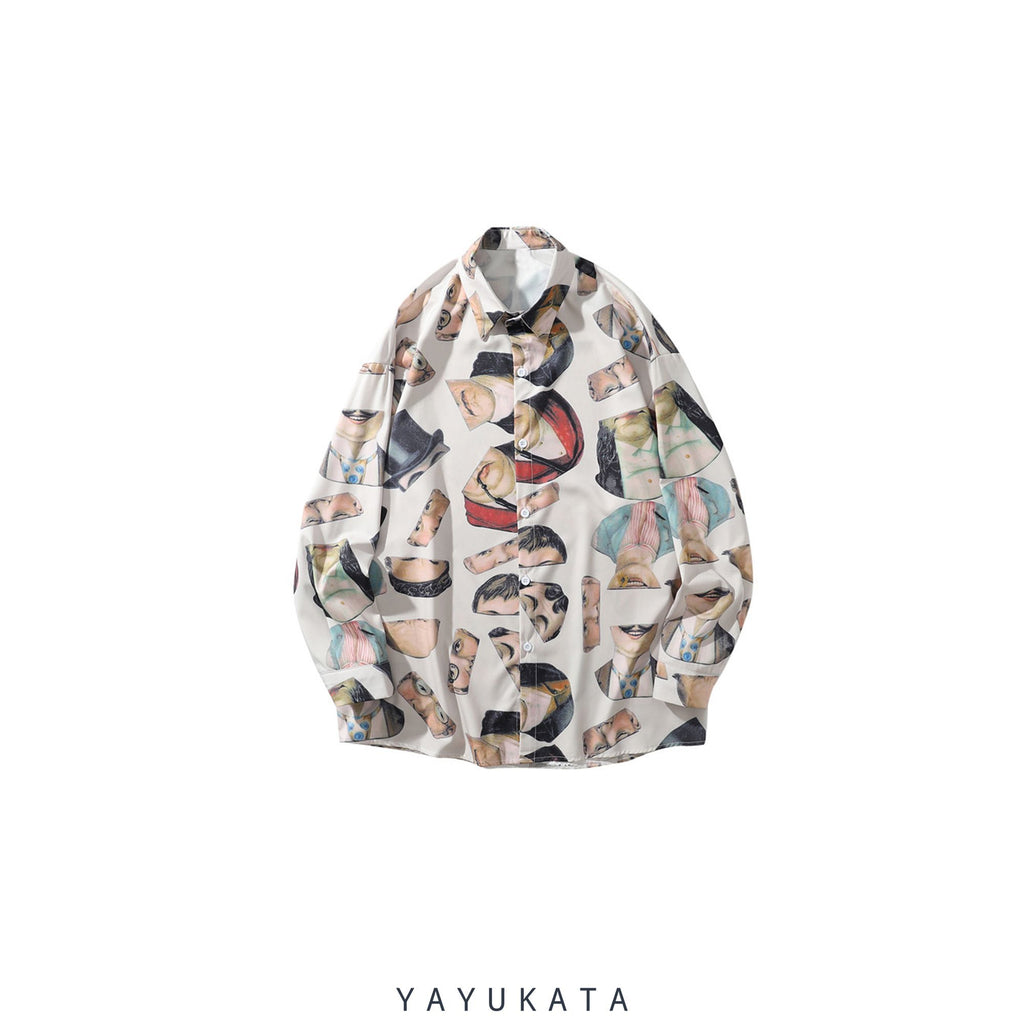 YAYUKATA Shirts Light Khaki / L VZ0 Printed Vintage Retro Shirt