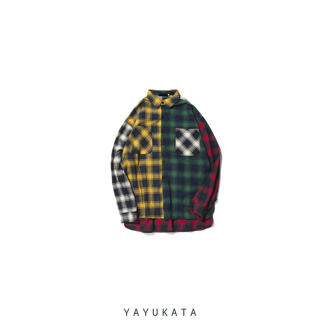 YAYUKATA Shirts M QC5 Color Block Plaid Long Sleeve
