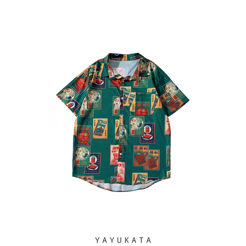 YAYUKATA Shirts M YX1 Casual Printed Summer Shirt