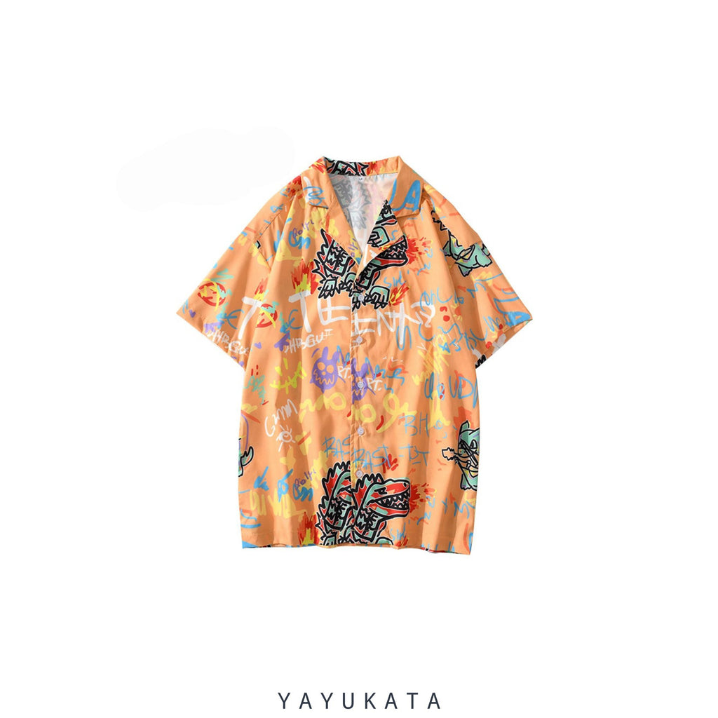 YAYUKATA Shirts ORANGE / XXL YN5 Graffiti Print Shirt