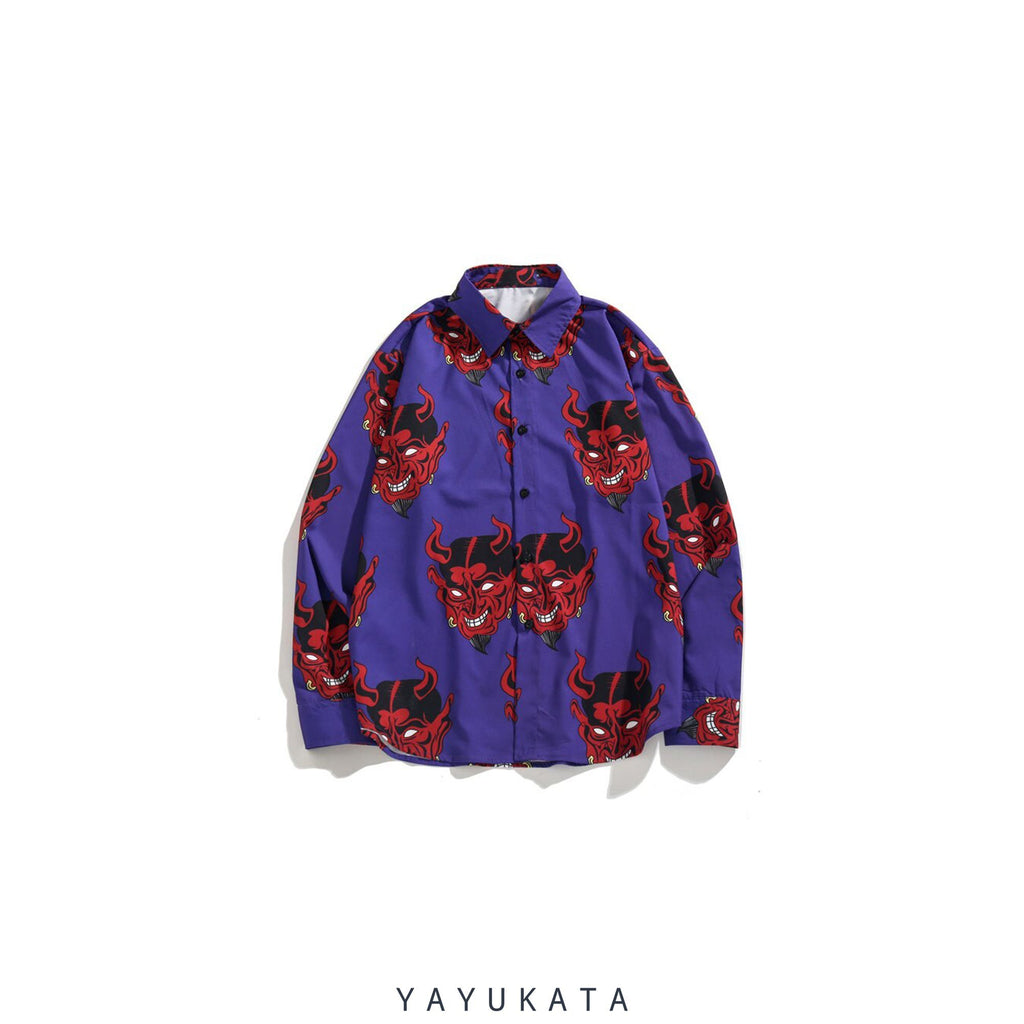YAYUKATA Shirts PURPLE / M VZ2 Devil Print Harajuku Long Sleeve