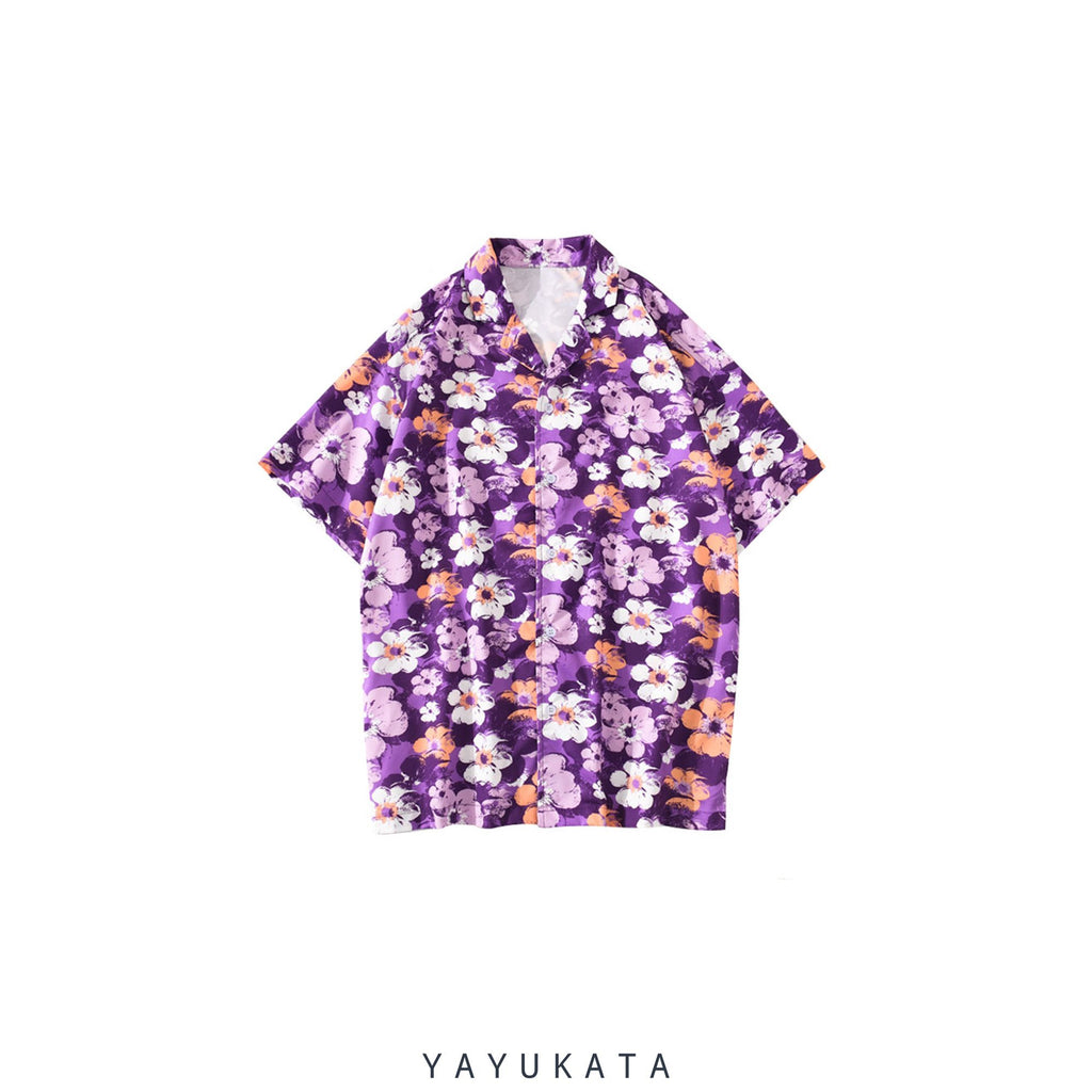 YAYUKATA Shirts PURPLE / M YQ4 Printed Beach Shirt
