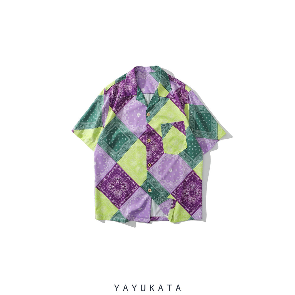 YAYUKATA Shirts PURPLE / XXL QF8 Mosaic Print Summer Shirt