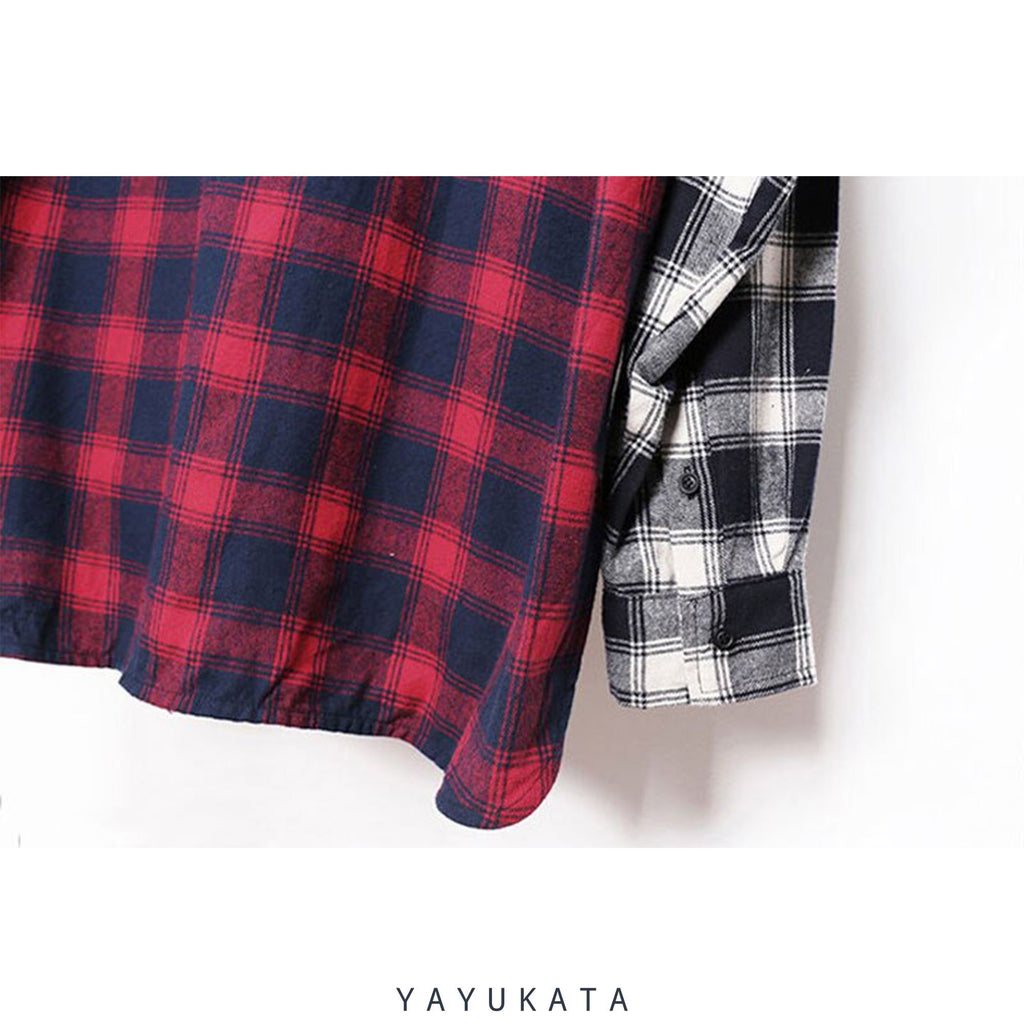 YAYUKATA Shirts QC5 Color Block Plaid Long Sleeve