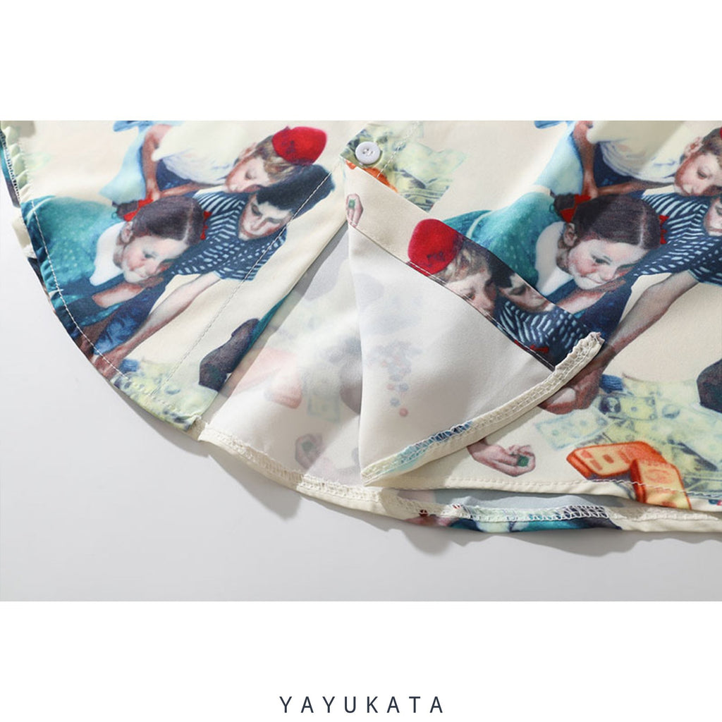 YAYUKATA Shirts QX6 Harajuku Retro Long Sleeve Shirt
