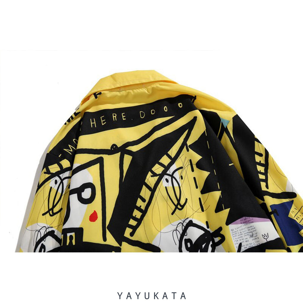 YAYUKATA Shirts QX7 Graffiti Printed Long Sleeve Shirt