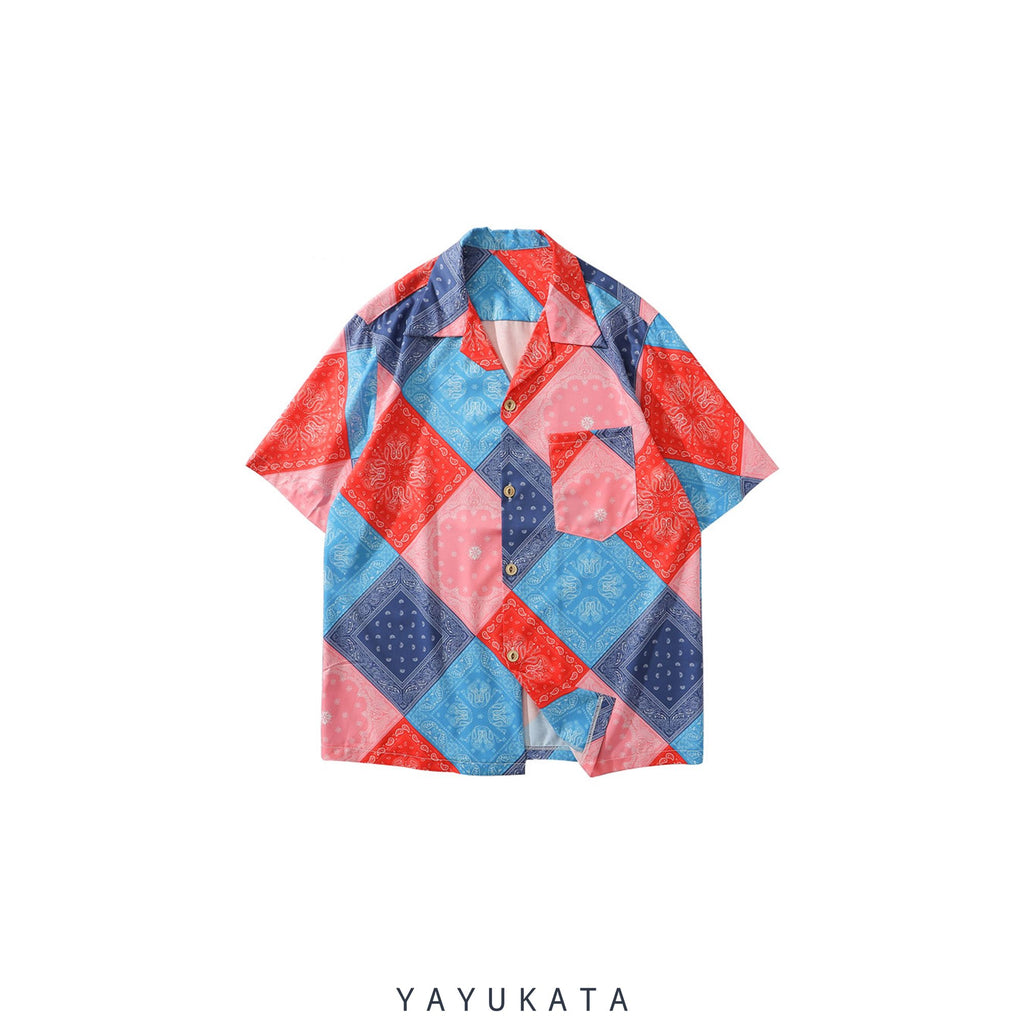 YAYUKATA Shirts RED / L QF8 Mosaic Print Summer Shirt