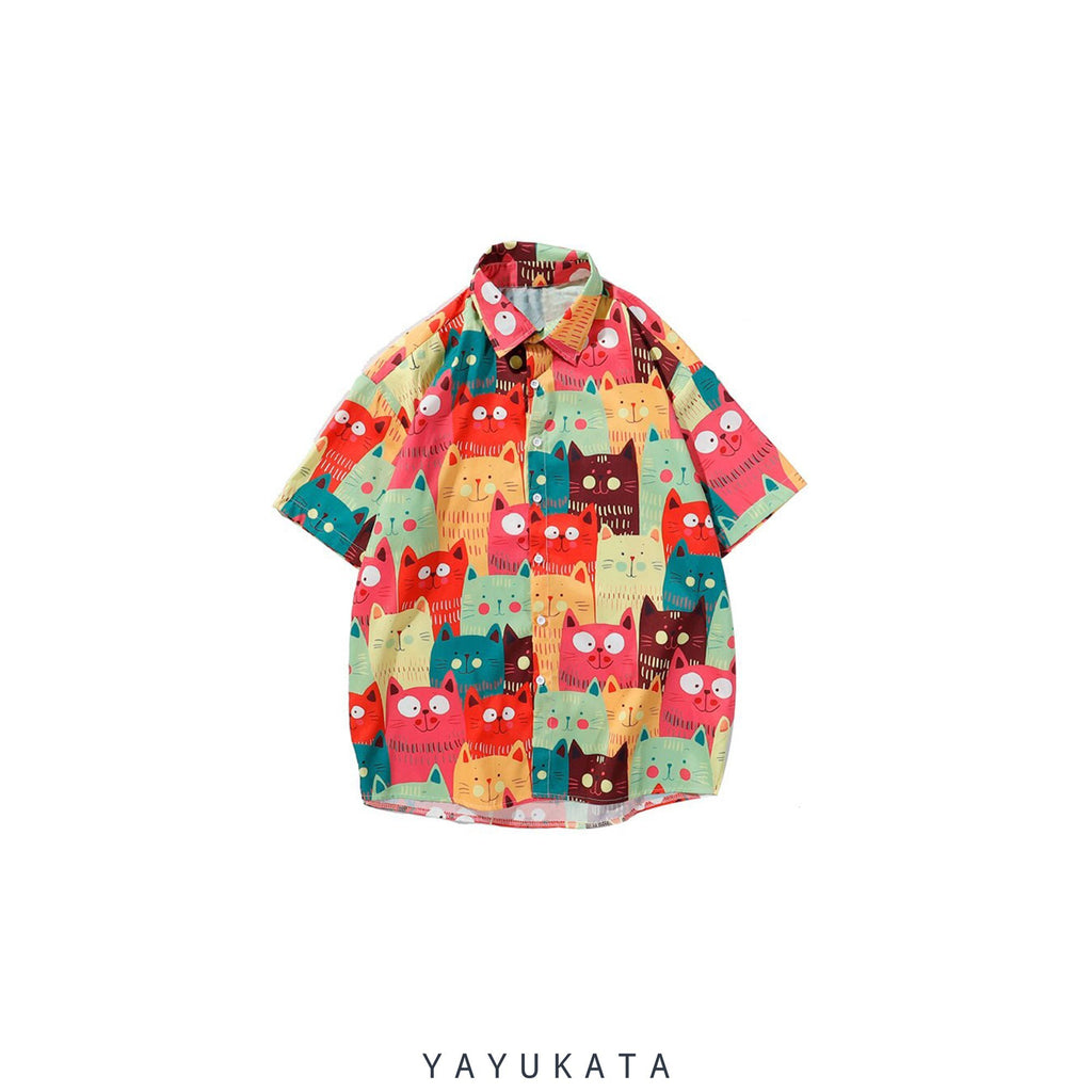 YAYUKATA Shirts RED / XL YU0 Printed Beach Shirt